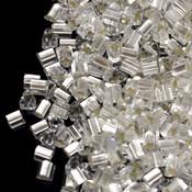 Японский Бисер TOHO Треугольный матовый кристалл с серебряной серединкой (21F)