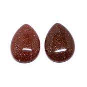 Кабошон имитация камня Авантюрин рыжий (капля)