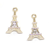 Фурнитура для украшений Подвеска Эйфелева башня со стразами цвет золото