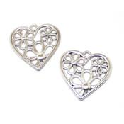 Фурнитура для украшений Подвеска Цветочное сердце античное серебро