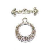 Фурнитура для украшений Замок тогл круглый Орнамент цвет серебро